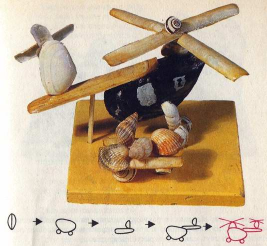Вертолет (рис. 101) Материал и инструменты: две большие ракушки мидии, четыре средние и две маленькие ракушки...