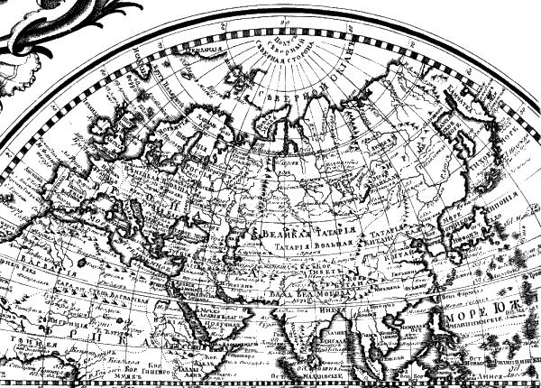 На русской карте середины xviii века